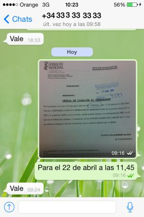 CHAT DE Whatsapp comunicando fecha Smac a cliente