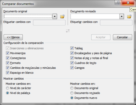 MENU DE COMPARAR DOCUMENTOS