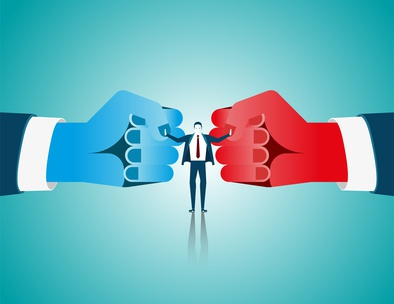 Businessman mediate with lawyer separating two fist glove opposi